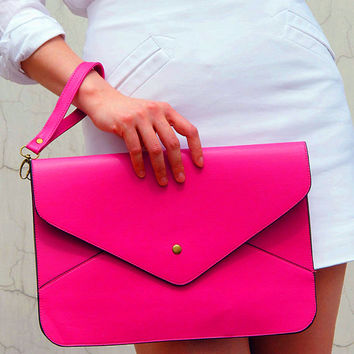 Oversize Vegan Leather Envelope Clutch - Rose Pink Purse Bag Handbag - Women Ladies - Handmade