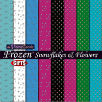 Frozen Snowflakes & Flowers Digital Paper Sheets Scrapbook for digital craft supplies, print, background, collage sheet, flower graphics DIY