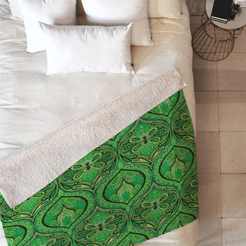 Aimee St Hill Ogee Green Fleece Throw Blanket