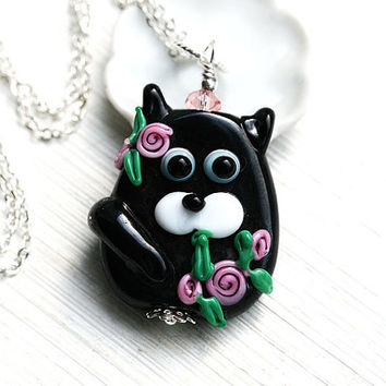 Black Cat Pendant, Pink flowers, Black Kitten, Cat Jewelry, Lampwork glass Cat, Adoptable, Cat lover gift, Pet Adoption, Cat lady