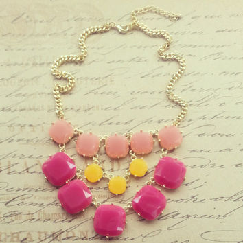 J Crew Inspired , Statement Necklace, Bib Necklace, Chunky, Bridesmaid Gift, Mother's day gift, Peach, Purple, Yellow, Multicolor