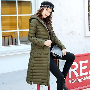2017 fashion thin female medium-long down coat slim plus size over-the-knee thin outerwear