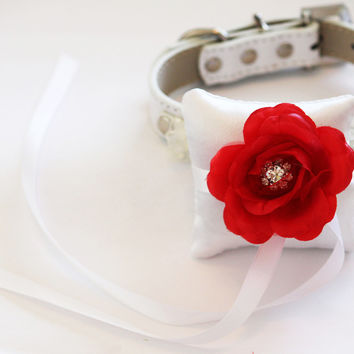 White and Red Ring Pillow for dogs, Cute Chic ring pillow attach to the High quality Leather Collar, Wedding Dog Accessory
