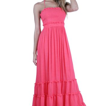 DD514 Vacation Smocked Front Self-Tie Halter Neck Tiered Maxi Dress