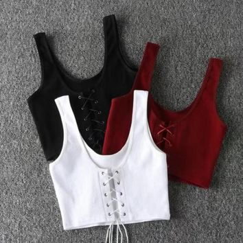 Fashion Sexy Chest Lace Up Type Hollow Pure Color Vest
