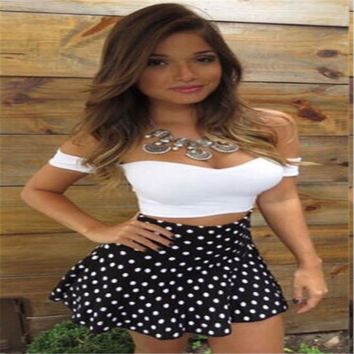 2017 New Fashion Women Sets Sexy Strapless Short Sleeve Off Shoulder Crop Tops Polka Dot Dress Set Two Pieces Set