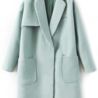 Mint Green Cozy Wool Boyfriend Coat - OASAP.com