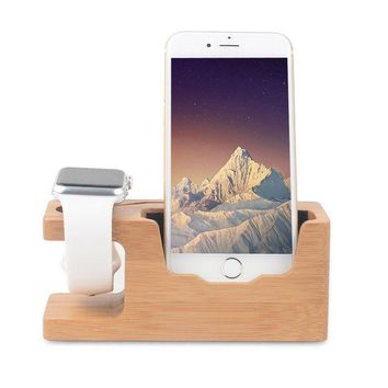 LMFON2D Apple Watch Stand, Ovtel Bamboo Wood Charging Bracket Docking Station StockCradle Holder for iPhone 7 and iwatch Series 1 and 2 of 38mm 42mm