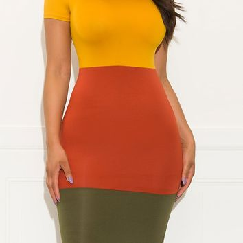 Ready To Go Out Dress Mustard Rust Olive