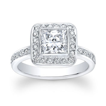 Ladies 14kt white gold vintage engagement ring with 1ct Princess Cut White Sapphire Center and 0.50 ctw G-VS2 pave diamonds