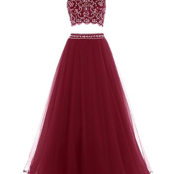 Ubridal US Shipping Women's Long two pieces Prom Dress Exquisite Beading Evening Dress