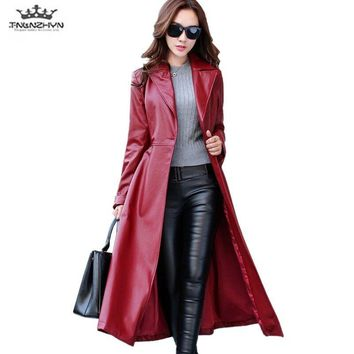 2018 Spring Autumn Women Leather Jacket  Fashion High-end PU Leather Coats X-long Belted Slim PU Leather Trench Coats SK113