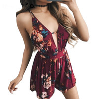 Summer Women's Fashion Sexy Spaghetti Strap Floral Print Jumpsuit One Piece Dress [11499129231]