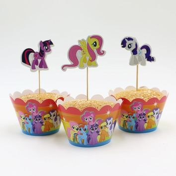 Hot Sale My little pony cupcake wrappers and toppers for kids birthday decoration party supplies cake toppers picks