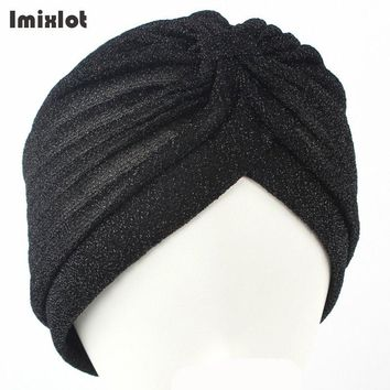 2017 New Fashion Women Unisex Solid Wrinkle Indian Stretchable Turban Hats Beanies Caps For Women Ladies