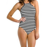 Swimwear Women 2017 Monochrome Colorful Tribal Print High Neck One Piece Maillot Bathing Suit Swimsuit Monokini -Daniel03116