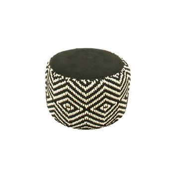 "19"" Basic Luxury Black and White Woven Diamond Footrest Ottoman"