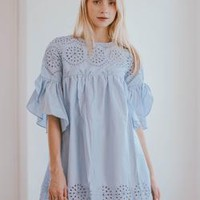 'Pherity' Broderie Anglaise Flare Sleeve Babydoll Dress