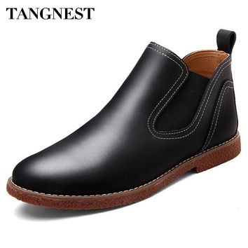 Tangnest 2017 Autumn New Men Boots Men Fashion Slip-on Flat Ankle Boots Pu Leather Rain Boot Casual Waterproof Shoes Man XMX632