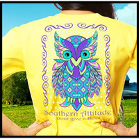 Country Life Southern Attitude Owl Don't Give A Hoot Yellow T-Shirt