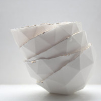 Geometric faceted polyhedron white bowl made from stoneware fine bone china - geometric decor