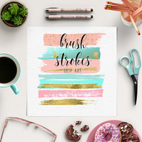 Brush Strokes Clipart | Peach, Pink, Gold Graphic Elements | Paint Clip Art | Ink Strokes | BUY5FOR8