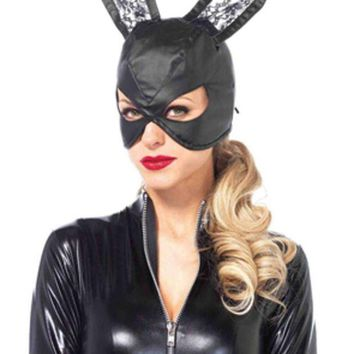 ONETOW Faux leather bunny mask with lace ears and lace up back in BLACK