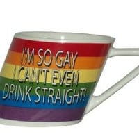 Amazon.com: Rainbow I'm So Gay/slant Mug, 14oz: Health & Personal Care