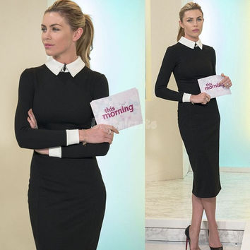 New Women Business Work Sheath Bodycon Vintage Pencil Dress Career Elegant Office Dress Black SV001986 = 1712400516