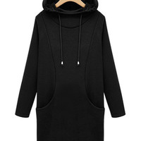 Solid Thicken Hooded Casual Pullover Sweatshirt Dress