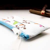 Mother's Day Gift, Zipper Cosmetic Pouch, Women wallet, pencil case, bridesmaid gift idea white green pink blue birds, Gift For Her