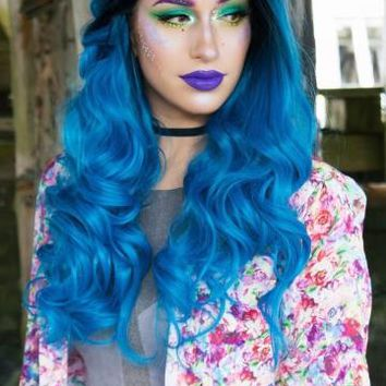 BLACK TO BLUE MERMAID WAVY LACE FRONT SYNTHETIC WIG