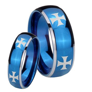 His Hers 4 Maltese Cross Dome Blue 2 Tone Tungsten Personalized Ring Set