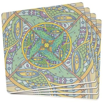 PEAPGQ9 Mandala Trippy Stained Glass Chameleon Set of 4 SandsTone Art Coasters