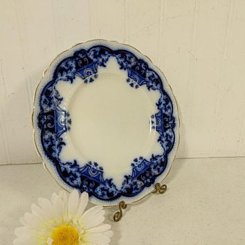 "Flow Blue Plate 9"" Round Dessert Salad Toast Plate Antique China Dinnerware The Blue Danube Pattern by Johnson Bros England Maker's Mark"