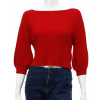 Boat Neck Bell Sleeve Strapless Knit Shirt Sweater