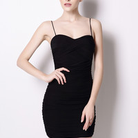 Black Ruched Low Cut Back Mini Bodycon Dress