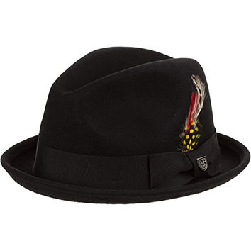 Brixton Men's Gain Felt Fedora, Black Felt, Medium