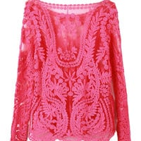 Pink Long Sleeve Lace Blouse