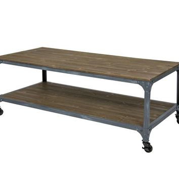 Industrial Style Coffee Table with Locking Caster Wheels