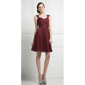 Cinderella Divine 3832 Burgundy Chiffon Thick Strap Sweetheart Neckline Short Cocktail Dress