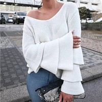 Solid Color V-Neck Long Sleeve Pagoda Sleeve Knitwear Sweater Women Tops