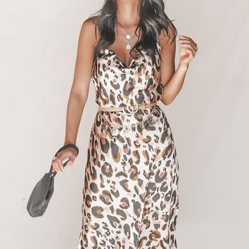 Way Up Satin Leopard Cowl Neck Midi Dress