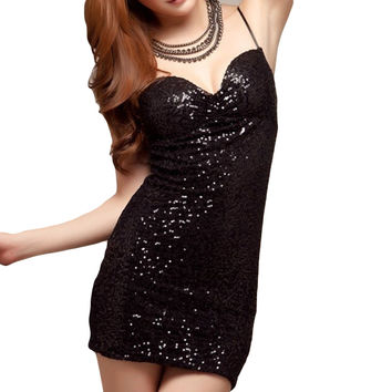 Sexy Women Mini Dress Sparkling Sequin Spaghetti Bodycon Tunic One-piece Dress  SM6