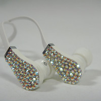 Play Talk White Headphones Earbuds 3.5 Microphone Clear AB Swarovski Elements Crystals Bling