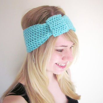 Crochet Ear Warmer Turban Knot Headband The Inbound Headwrap in Sky Blue Wool