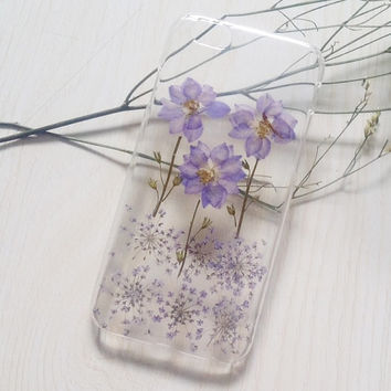 Handmade Real  Natural Pressed Flowers iphone 6 6 plus case iphone 4s 5 5s 5c case cover fashion Samsung galaxy s5 note case purple