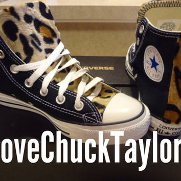Custom Converse Chuck Taylors with Faux Leopard Fur Any SIze/Any Color