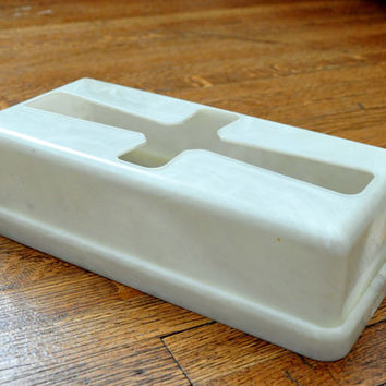 Vintage White Tissue Holder, Marbled Plastic, Bathroom Decor, Tissue Box Cover