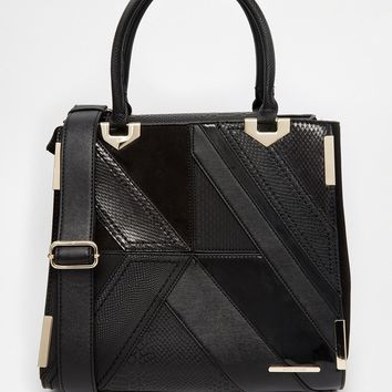 River Island Mixed Fabric Cutabout Tote